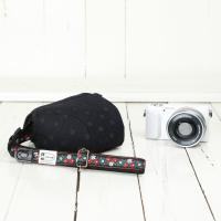 カメラケース camera case ミラーレス一眼カメラ用 カメラのお洋服 ミニ /エレガントブラックレディードット|mi-na|03