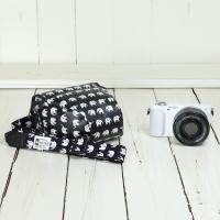 カメラケース camera case ミラーレス一眼カメラ用 カメラのお洋服 ミニ ビニールコーティングタイプ /ハッピーエレファントネイビー|mi-na|03