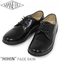 MANEBU マネブ HIHIN FACE SKIN レザープレーントゥ シューズ [BLACK] ...
