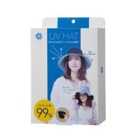 紫外線対策UVカット率99% 折りたためるリバーシブルUV帽子 ブラック×花柄