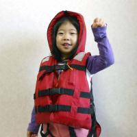 子供用防災頭巾付救命胴衣(ライフジャケット) 3歳以上・身長80cm〜135cm・体重50kgまで。...