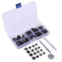 ・レザークラフト カシメ スナップボタン セット内容:ボタン×100個、工具×2種類、打ち台×1、ケ...