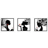 ・刺繍キット モノクロ女性 3枚セット  セット内容:刺繍キット×3、刺繍糸、 刺繍針、日本語の簡単...