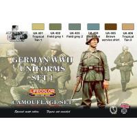 第二次世界大戦 ドイツ軍 ユニフォームカラーセット No.1  German military uniforms WWII set # 1  22ml x 6本入|miniature-park