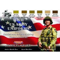 第二次世界大戦 アメリカ軍 ユニフォームカラーセット No.1(戦闘服&作業服用)  WWll US ARMY UNIFORM SET1  22ml x 6本入|miniature-park