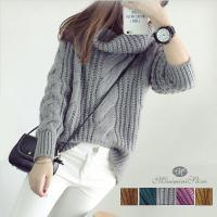 ゆったりとした可愛いシルエットが特徴な新作レディースセーター<br> ケーブル編みのざっ...