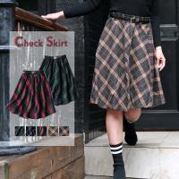 ふんわり動きのあるフレアなシルエットが可愛らしい秋冬新作スカート<br> ウエストゴム仕...