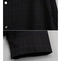 ショート丈 チェックジャケット メンズ クロップドジャケット 秋冬 ワークジャケット モード系/メンズファッション/ビジュアル系 minsobi