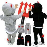 ハロウィン コスプレ 子供 デビル 悪魔 仮装 衣装 可愛い 男の子 女の子 キッズ 上下セット ブラック グレー 90 100 110 120 cm