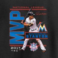 MLB マーリンズ ジャンカルロ・スタントン レディース 2017 ナ・リーグ MVP記念 Tシャツ ブラック