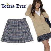 ★★Teens Ever プリーツスカート(1) L★★  グレー×ネイビーのシックなチェック柄プリ...