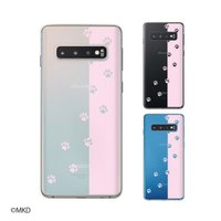 Galaxy S10 (SC-03L / SCV41) / S10+ (SC-04L / SCV42) ケース カバー 肉球6 ピンク ネコ イヌ 透明