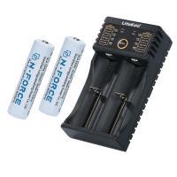 18650リチウムイオン電池+専用USB充電器セット USBケーブル付き 18650専用 アダプターは付属しません 2本同時充電 長さ68mm