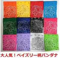 バンダナ ペイズリー柄 三角巾55×55cm大判