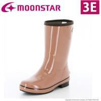 「ムーンスター」の女性用ラバーブーツです。広い胴回りで脱ぎ履きしやすく、3Eのワイド設計です。艶のあ...