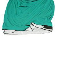 新品正規60%OFF PPFM ピーピーエフエム Tシャツ M グリーン モード フェイクレイヤードスタイル キュート ネックデザイン 春夏