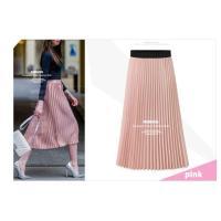 大きいサイズ プリーツスカート シンプル 無地 カラー ミディアム丈 スカート
