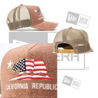 帽子 キャップ cap メンズ レディース ニューエラ NEW ERA 9FORTY A-Frame Trucker Pile パイル CALIFORNIA REPUBLIC ブラウン