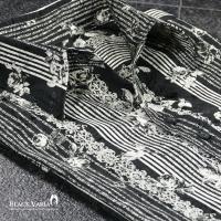 シャツ 薔薇柄 バラ柄 花柄 ジャガード サテンシャツ ストライプ 長袖 ドレスシャツ メンズ(ブラック黒ホワイト白) g019