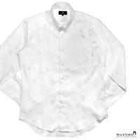サテンシャツ 花柄 薔薇柄 レギュラーカラー ドゥエボットーニ ジャガード メンズ 日本製 光沢 ドレスシャツ(ホワイト白) 161913