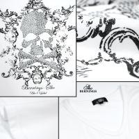 Tシャツ Vネック スカル ラインストーン ドクロ アラベスク 英字 長袖 プリント ロンT メンズ(ホワイト白) 307633