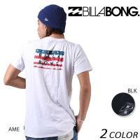 【BILLABONG】ビラボンのメンズ半袖Tシャツ。 フロントとバックにNEWタイプのボックスロゴを...