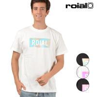 【roial】ロイアルのメンズ半袖トップス。 ボックスロゴにマーブル柄のプリントを 落とし込んだロゴ...