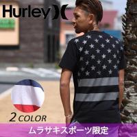 【Hurley】ハーレーのメンズ半袖Tシャツ。 アメリカの国旗を背面に大胆にプリントしたインパクト大...