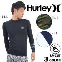 【Hurley】ハーレーのメンズラッシュガード。 袖の2本ラインと胸のロゴマークがポイントのラッシュ...