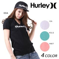 【Hurley】ハーレーのレディース半袖Tシャツ。 定番のロゴTシャツに、ボーダーの胸ポケットをオン...