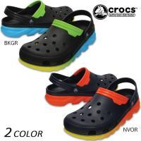【crocs】クロックスのサンダル。 デュエット マックス クロッグに大胆で明るい グラデーションカ...
