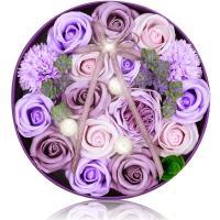 ソープフラワー 造花 フラワーアレンジメント (紫)