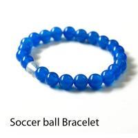 ■サッカーボール水晶 ブレスレット  ブルーメノウとサッカーボールカットの水晶をセットしたブルー基調...