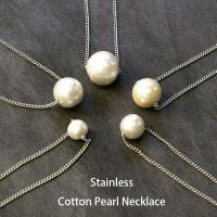 ■1粒コットンパールネックレス アレルギー 対応 ネックレス  サージカルステンレスを使用した 金属...