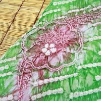 有松鳴海絞 しぼり浴衣反物「グリーンにピンクの流れる様な花」 一級和裁技能士の国内手縫いお仕立て付 絞りゆかた 緑