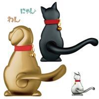 おしゃれなわんにゃんレバーハンドルが即納可能!室内ドア用のドアノブ取り付け簡単!取替OK!犬と猫のシ...