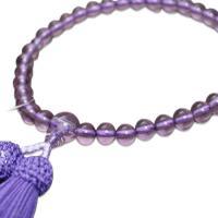 【クロネコDM便送料無料♪】  数珠 女性用   ハリローズアメジスト / ハリ紫水晶   7ミリ玉...