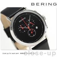 ベーリング クラシック コレクション カーフレザー 40mm クオーツ クロノグラフ メンズ 腕時計...