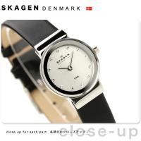 スカーゲン SKAGEN 腕時計 スチール レディース ブラックレザー シルバー 358XSSLBC...