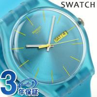 スウォッチ スイス製 腕時計 ユニセックス ニュージェント ターコイズレーベル SUOL700 個性...