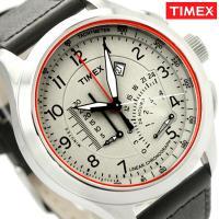 タイメックス 腕時計 インテリジェントクオーツ クロノグラフ メンズ クリーム×ダークブラウン レザ...