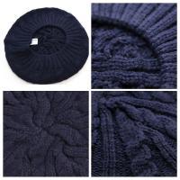 帽子 レディース ベレー帽 縄編み 大きめ ゆったり シンプル 小物