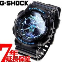 Gショック G-SHOCK 腕時計 メンズ ブラック×ブルー カモフラージュ アナデジ GA-100...