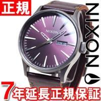 ニクソン NIXON セントリーレザー SENTRY LEATHER 腕時計 メンズ ガンメタル/デ...