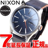 ニクソン NIXON セントリーレザー SENTRY LEATHER 腕時計 メンズ ブルー/オレン...