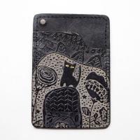 品名  オール手染めパスケース ビル猫(黒)      サイズ 約 横10.5cm×縦7cmカラー ...