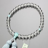 数珠 女性用 約8ミリ 本水晶 シーブルーカルセドニー 正絹房 略式数珠