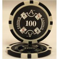 【商品名】Quattro Assi(クアトロ・アッシー)ポーカーチップ(100)黒 <25枚セット>