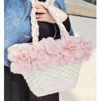 かごバッグ トート型 超ラブリー系 花のコサージュ レース付 (ホワイト)