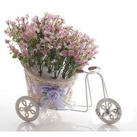 置物 かすみ草をのせた小さな自転車 (ピンク)